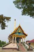 picture of crematory  - Crematory with sky background at wat klongha  - JPG