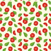 stock photo of basil leaves  - Tomatoes and basil leaves seamless pattern - JPG