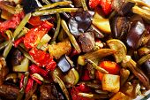 picture of okra  - Casserole with eggplants potatoes tomatoes okra and zuchinni - JPG