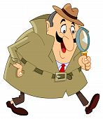 pic of private detective  - Vector cartoon detective holding his magnifying glass - JPG