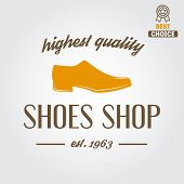 Vintage logo, badge, emblem or logotype elements for shoemaker, shoes shop and shoes repair poster