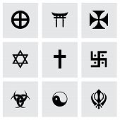 stock photo of triskele  - Vector religious symbols icon set on grey background - JPG