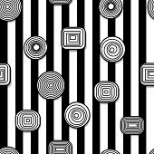 stock photo of hypnotizing  - Black and white hypnotic and psychedelic seamless  - JPG