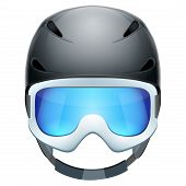 stock photo of nordic skiing  - Front view of Classic Ski helmet and snowboard goggles - JPG