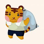foto of cute tiger  - animal tiger worker cartoon theme elements - JPG