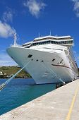 stock photo of cruise ship caribbean  - Cruise ship docked at a port in the Caribbean Sea - JPG