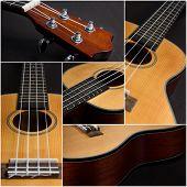 foto of ukulele  - Ukulele guitar details over dark background collage - JPG