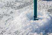 foto of ice fishing  - Close - JPG
