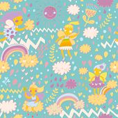 ������, ������: Childish bright seamless pattern with fairies on clouds in the sky with sun rainbows hearts and fl