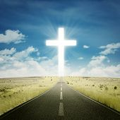 picture of heavenly  - Empty road toward the heaven with a cross on the end of the road - JPG