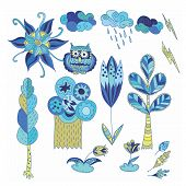 picture of rain cloud  - Sketch kid style forest symbols  - JPG
