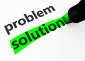 stock photo of solution  - Success and business strategy concept with a 3d rendering of problem and solution words text highlighted with a green marker - JPG