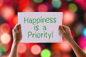 foto of priorities  - Happiness is a Priority card with bokeh background - JPG