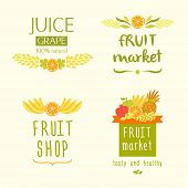 picture of fruit-juice  - Set vector logo for a store of fruits - JPG