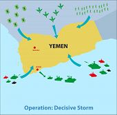 stock photo of offensive  - Rescue and Military Offensive Mission in Yemen by coalition of different countries called Operation Decisive Storm - JPG
