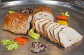 foto of meatloaf  - Leberkase meatloaf german speciality on display at a hotel restaurant buffet - JPG