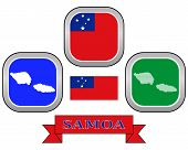 picture of samoa  - map button flag and symbol of Samoa on a white background - JPG
