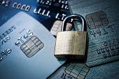 picture of debit card  - a security lock on credit cards  - JPG