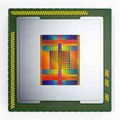 image of cpu  - top view of a CPU on white background the cpu is without the cover and the circuits are visible  - JPG