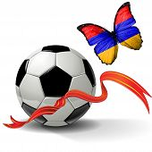 pic of armenia  - Soccer ball with ribbon and butterfly with the flag of Armenia - JPG