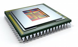 picture of cpu  - one CPU on white background the cpu is without the cover and the circuits are visible  - JPG