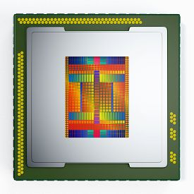 picture of cpu  - top view of a CPU on white background the cpu is without the cover and the circuits are visible  - JPG