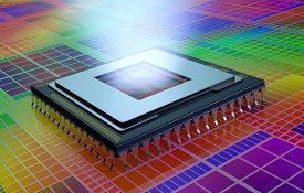 pic of cpu  - close up view of a CPU on an electronic circuit the cpu is without the cover and a light comes out from the hole  - JPG
