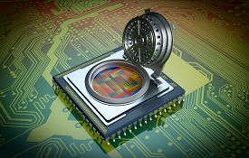 stock photo of cpu  - one cpu with a security door electronic circuits on background the door is open and the circuits are visible concept of computer security  - JPG