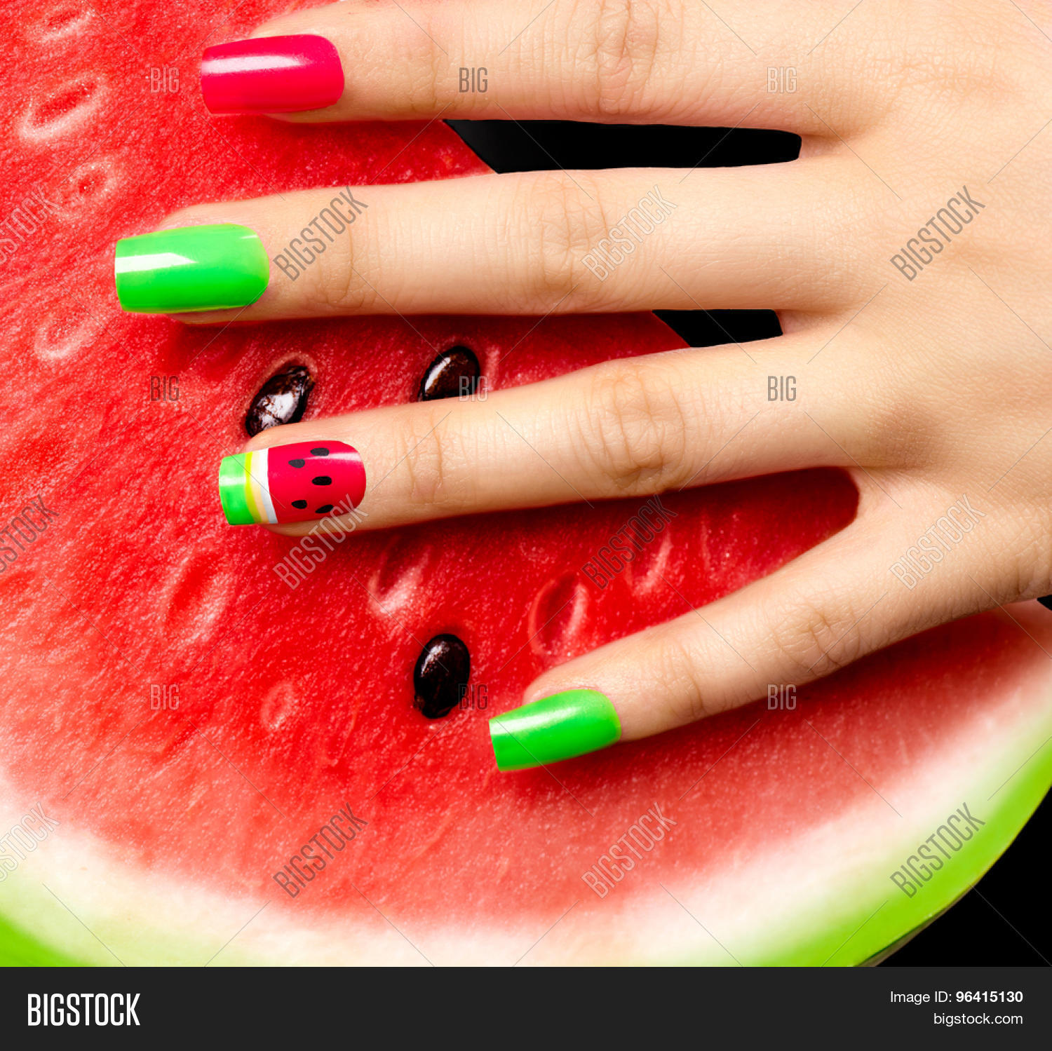 Free Manicure Beauty Hands Makeover: Nail Art Manicure. Watermelon Style Image & Photo