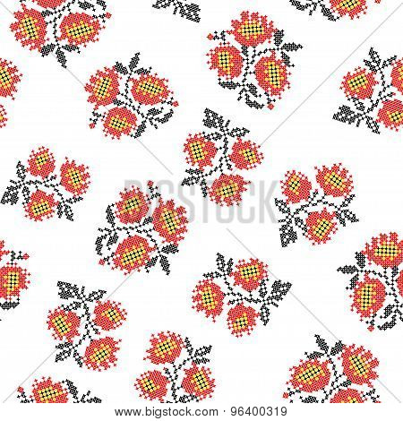 Seamless Texture With Embroidered Poppies