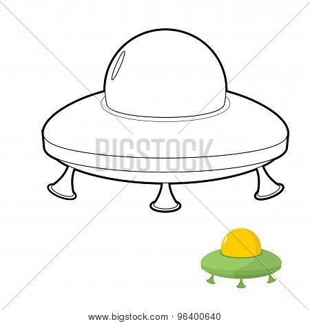 Ufo Coloring Book. Vector Illustration Of An Alien Space Transport.