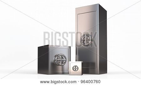 Three Security Metal Safes Near Each Other