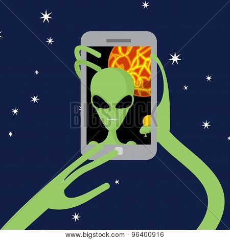 Selfie Space. Alien Shoots Himself On Phone Against Backdrop Of  Planet. Vector Illustration.