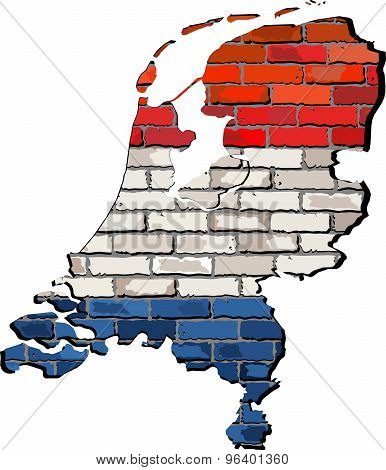 Netherlands Map On A Brick Wall