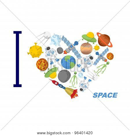 I Love Space. Heart Symbol Of Cosmic Elements: Astronvty And The Planet, Ufo And Alien. Spaceships A