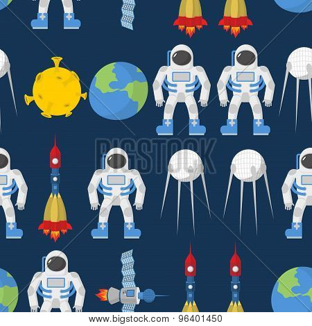 Cosmic Seamless Pattern. Earth And Astronaut. Space Rocket Ship And Satellite. Vector Background.