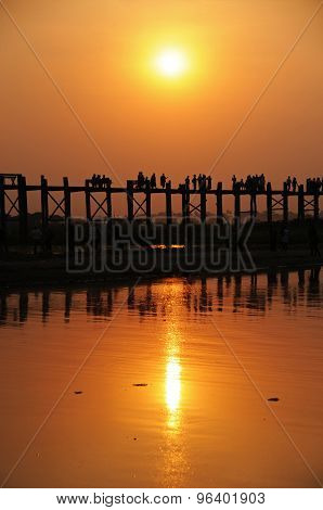 U Bein Bridge Sunset, Mandalay, Burma