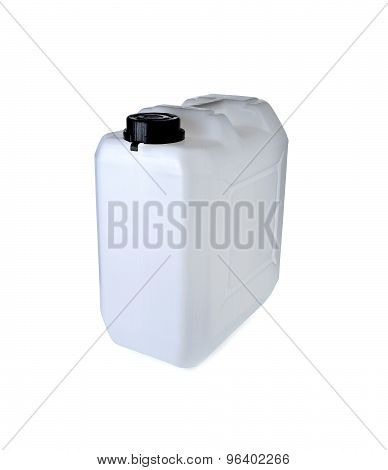 White Plastic Gallon With Lid On White Background