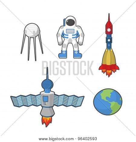 Astronaut And Earth Space Icon Set. Vector Illustration
