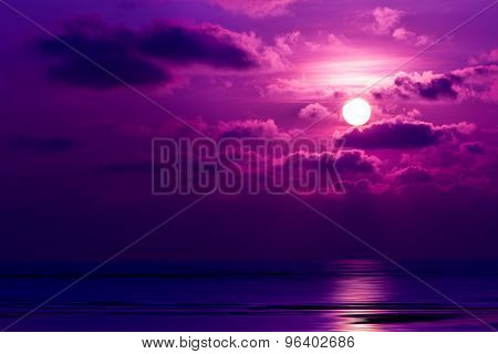 Dramatic Sunset Behind Clouds Above The Sea