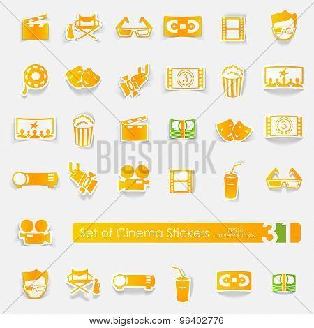Set of cinema stickers