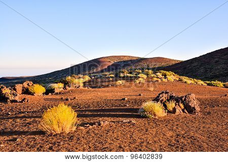 Dramatic Cloudy Suset Landscape Desert