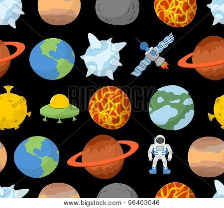 Planets Of Solar System Seamless Pattern. Vector Space Background. Spaceman And Ufo