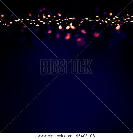 Magic Night Background With Bokeh Twinkling Lights. Festive Christmas Elegant Abstract Background
