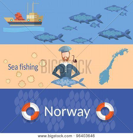 Travel Norway: Sailors, Ships, Steering Wheel, Ocean, Sea, Fish, Transportation, Flat Vector Banners