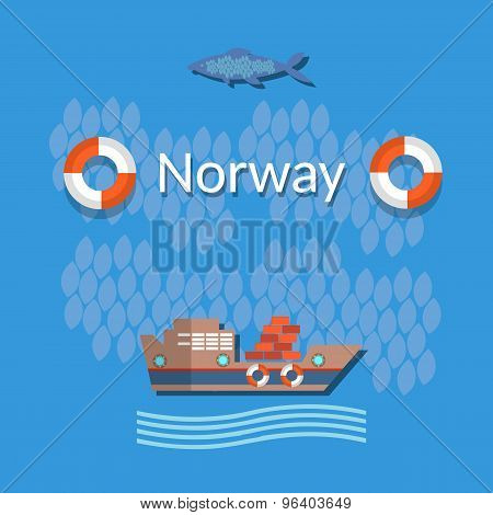 Norway: Industrial Fishing, Sea Fishing, Fish Boats, Cargo, Vector Illustration