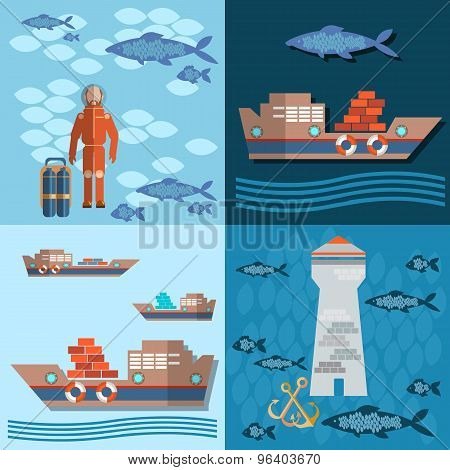 Study Of Sea And Ocean, Trucking, Ships And Fishing, Divers And Lighthouse, Flat Vector Illustration