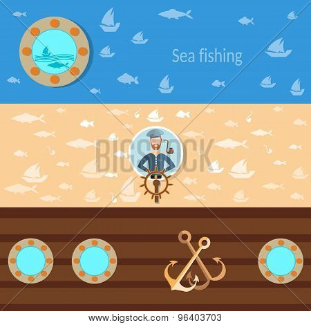 Sea Cruise, Old Sailor, Sea Wolf, Fishing, Captain, Vector Banners