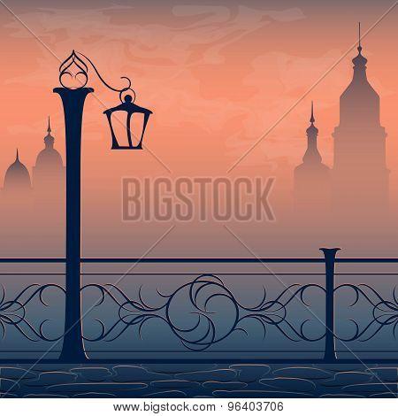 Vector postcard with cityscape lantern and bridge