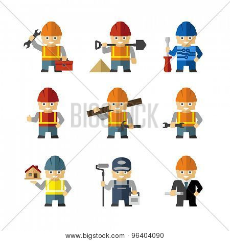 Industrial Builder Worker Cartoon Character Figures With Tools